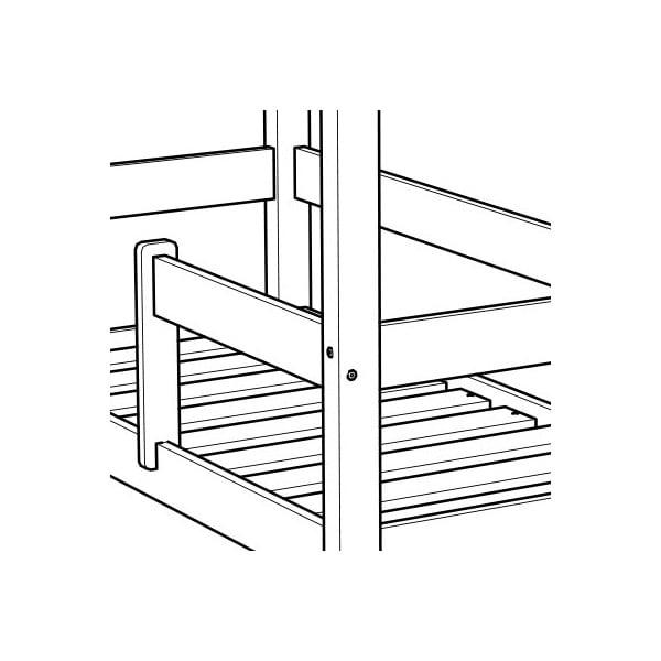 Białe łóżko z wysokimi nóżkami i barierkami Benlemi Tery, 90 x 200 cm, wysokość nóżek 20 cm