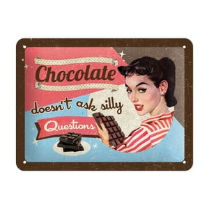 Blaszana tabliczka Chocolate Questions, 15x20 cm