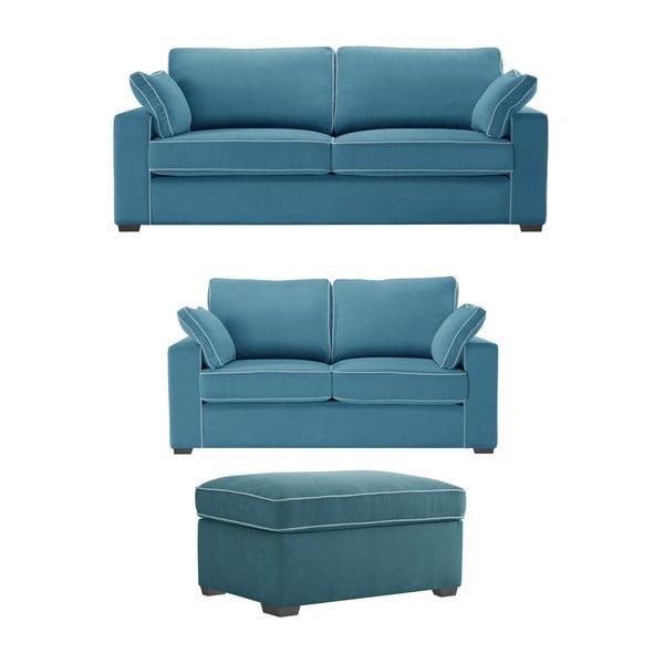 Trzyczęściowy komplet wypoczynkowy Jalouse Maison Serena, niebieski
