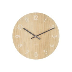 Jasnobrązowy zegar ścienny Present Time Glass Wood