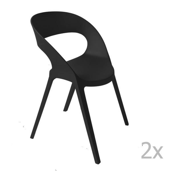 Zestaw 2 czarnych krzeseł ogrodowych Resol carla
