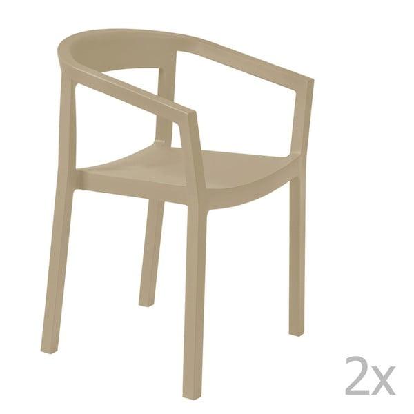Zestaw 2 beżowych krzeseł ogrodowych z podłokietnikami Resol Peach