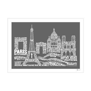 Plakat Paris Grey&White, 50x70 cm