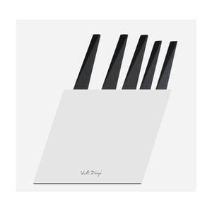 Zestaw 5 noży w białym stojaku Vialli Design Volo