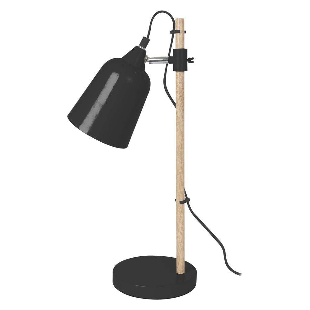 Czarna lampa stołowa Leitmotiv Wood