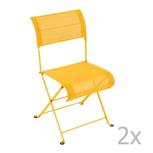 Zestaw 2 żółtych krzeseł składanych Fermob Dune