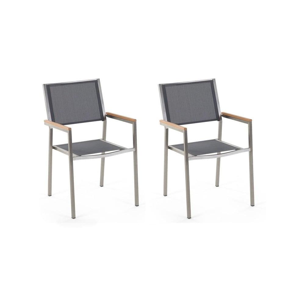Zestaw 2 szarych krzeseł ogrodowych Monobeli Classy