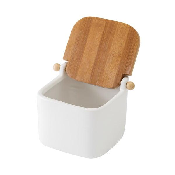 Biały pojemnik ceramiczny na sól Unimasa