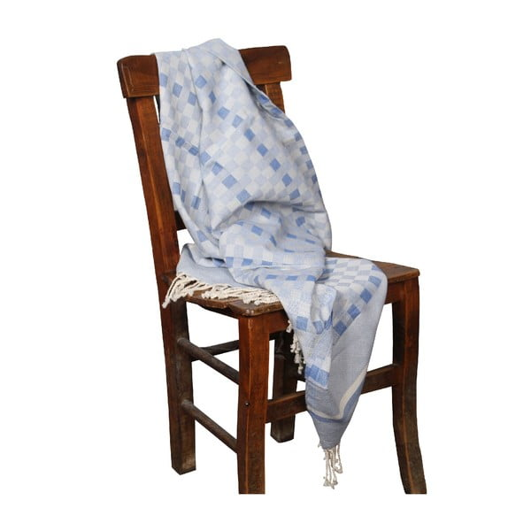 Niebieski ręcznik hammam Hera Blue, 90x190cm