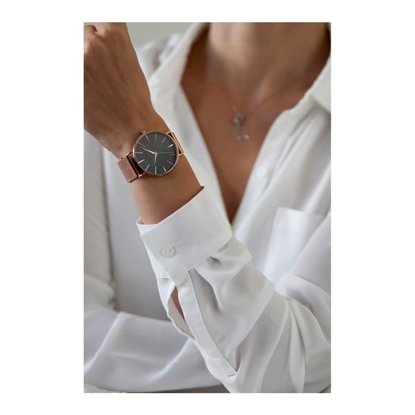 Zegarek z paskiem ze stali nierdzewnej w kolorze różowego złota Frederic Graff Rose Eger Silver Mesh