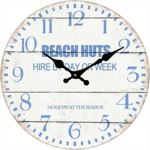 Szklany zegar Beach Huts, 34 cm