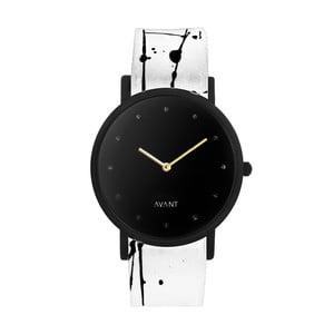 Czarny zegarek unisex z biało-czarnym paskiem South Lane Stockholm Avant Pure