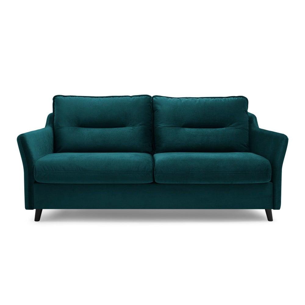 Morska aksamitna sofa rozkładana Bobochic Paris Loft