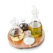 Zestaw butelek na przyprawy, olej i ocet z tacą Brandani Verre