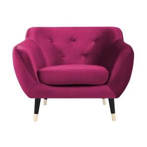 Różowy fotel z czarnymi nogami Mazzini Sofas Amelie