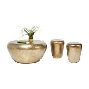 Zestaw 3 stolików w złotym kolorze Kare Design Antico