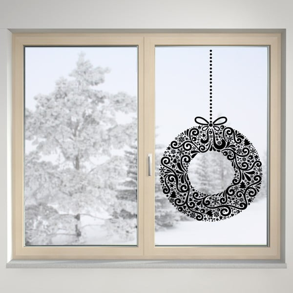 Elektrostatyczna naklejka Wieniec świąteczny