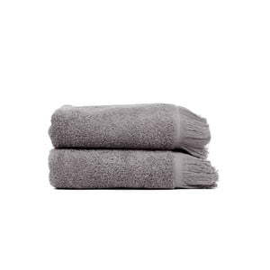 Komplet 2 szarych ręczników kąpielowych z bawełny Casa Di Bassi Soft, 100x160 cm