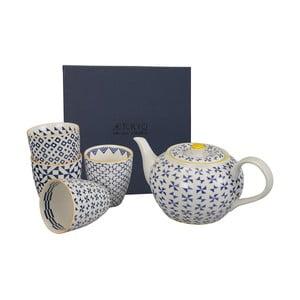 Porcelanowy zestaw do herbaty Geometric Blue