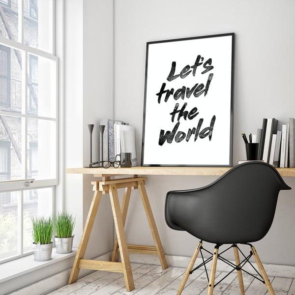 Plakat w drewnianej ramie Let´s travel, 38x28 cm
