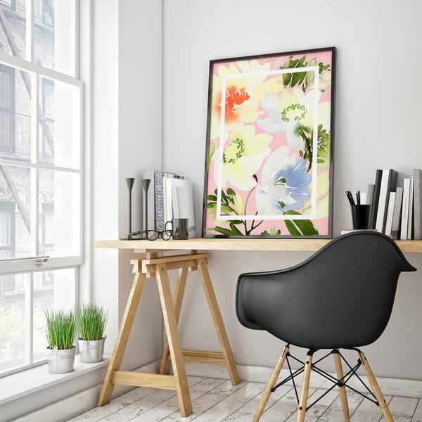 Plakat z kwiatami, jasnoróżowe tło, 30 x 40 cm