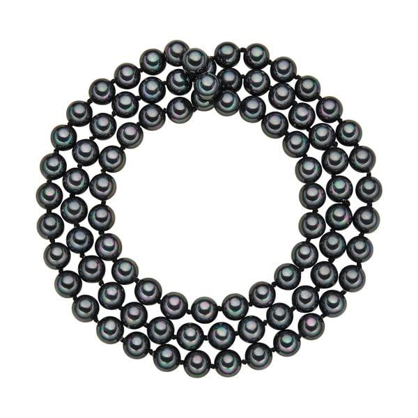 Naszyjnik z grafitowych pereł ⌀ 8 mm Perldesse Muschel, długość 80 cm