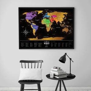 Mapa-zdrapka świata Scratch Map of the World Black