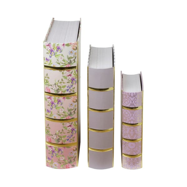Zestaw 3 pudełek w kształcie ksiązki Tri-Coastal Design Charming Garden