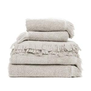 Zestaw 6 beżowych ręczników i 2 ręczników kąpielowych Casa Di Bassi