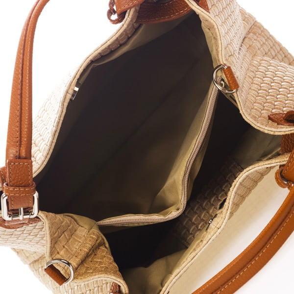 Kremowa torebka skórzana Federica Bass Hydri