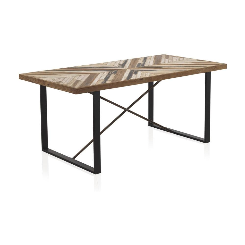 Stół z metalowymi nogami i blatem z drewna z recyklingu Geese, 180x90 cm