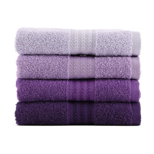 Zestaw 4 fioletowych ręczników Rainbow Violet, 50x90cm
