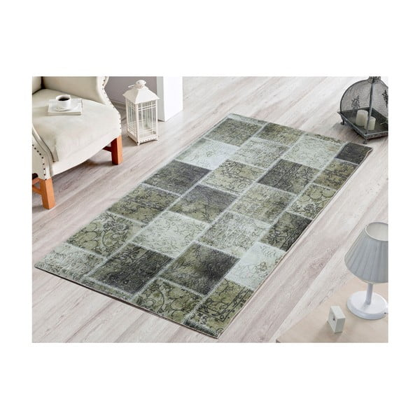 Dywan Dark Green Patchwork, 80x200 cm