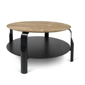 Czarny stolik z blatem w kolorze drewna orzechowego TemaHome Scale