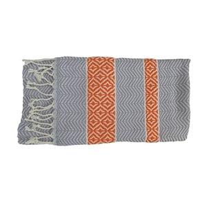 Pomarańczowo-szary ręcznie tkany ręcznik z bawełny premium Basak,100x180 cm