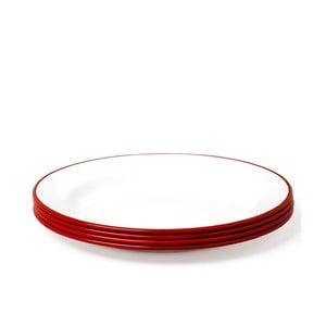 Zestaw 4 czerwonych emaliowanych talerzy Falcon Enamelware