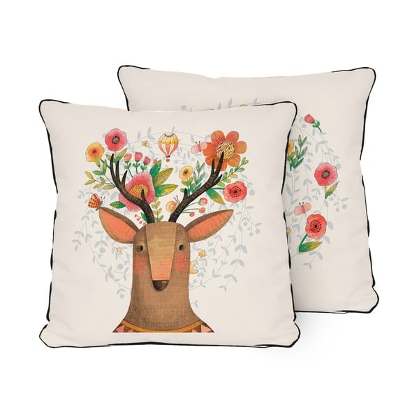 Dwustronna poduszka Little Nice Things Deer Dream, 45x45 cm