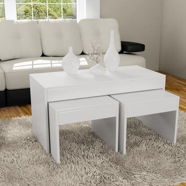 Stolik kawowy i dwa stołki Sebboy White