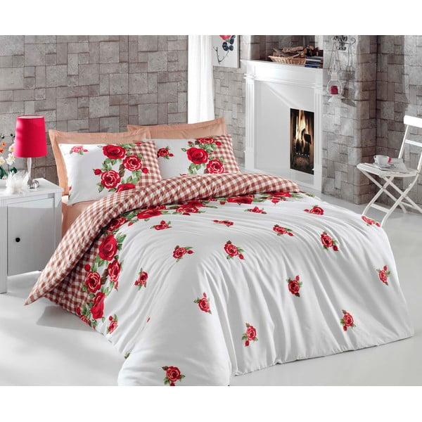 Czerwona pościel na łóżko jednoosobowe z prześcieradłem Love Colors Florid, 160 x 220 cm
