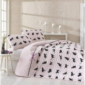 Pikowana narzuta z 2 poszewkami na poduszki Cats, 200x220 cm