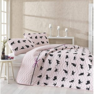 Komplet pikowanej narzuty i 2 poszewek na poduszki Cats Powder, 200x220 cm
