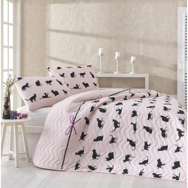 Pikowana narzuta z 2 poszewkami na poduszki Cats Powder, 200x220 cm