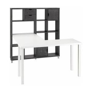 Białe biurko z czarnym regałem Støraa Kiera