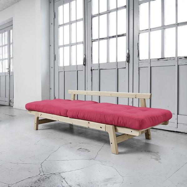 Sofa rozkładana Karup Step Natural/Magenta