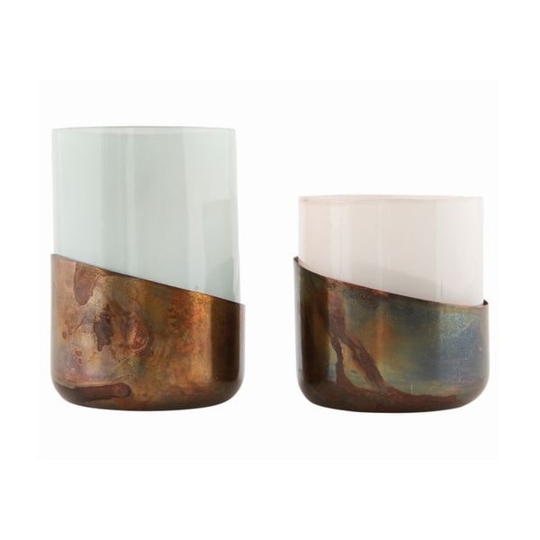 Zestaw 2 świeczników Bright Green Copper