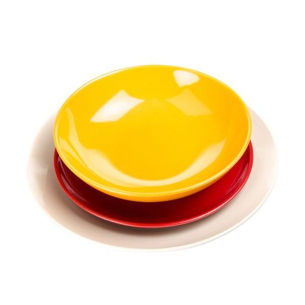 18-częściowy komplet talerzy Kaleidoskop, biało-żółto-czerwony