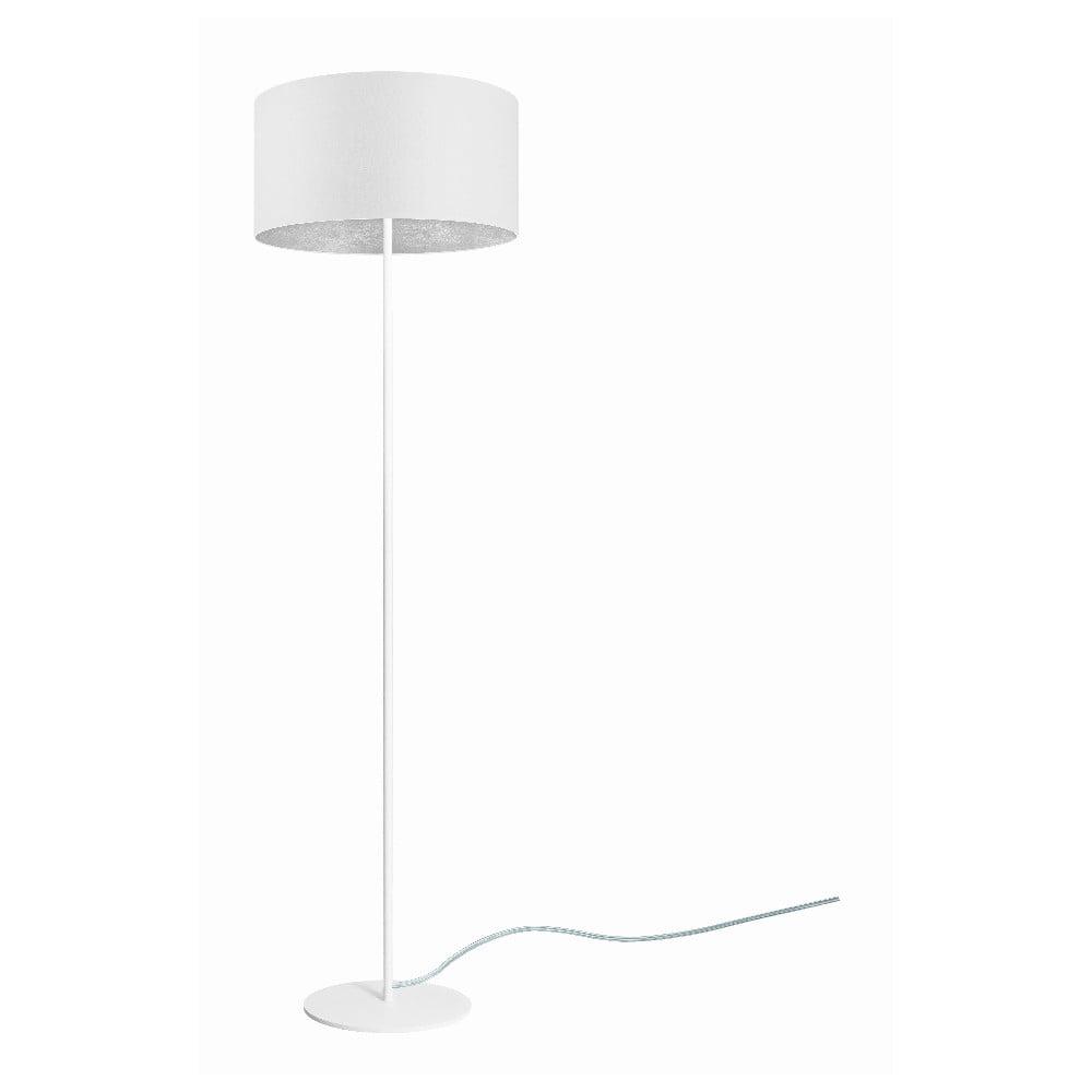 Biała lampa stojąca z detalem w srebrnym kolorze Sotto Luce Mika, ⌀ 40 cm