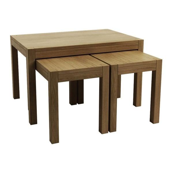 Zestaw 1 stolik większy i 2 stoliki mniejsze, dębowe Sims