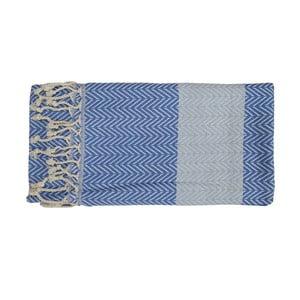 Niebieski ręcznie tkany ręcznik z bawełny premium Damla,100x180 cm
