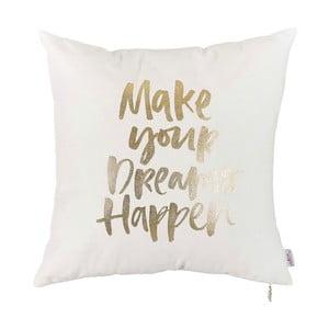 Biała poszewka na poduszkę z dekorem w złotej barwie Apolena Print, 45x45cm